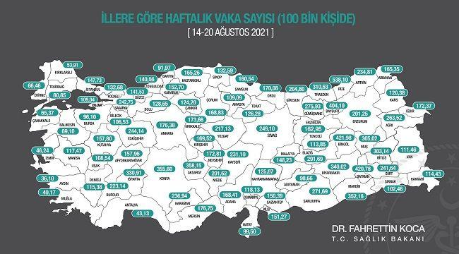 Vaka Haritasında En Yüksek Yoğunluk Rize'de